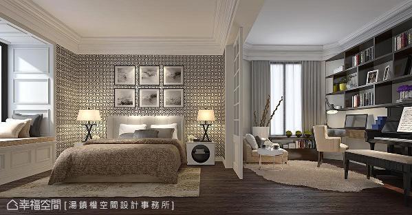 利用白色格窗拉门界定出卧眠区和书房区,并沿着窗边设置卧榻,创造出休闲兼具机能的生活场域。 (此为3D合成示意图)