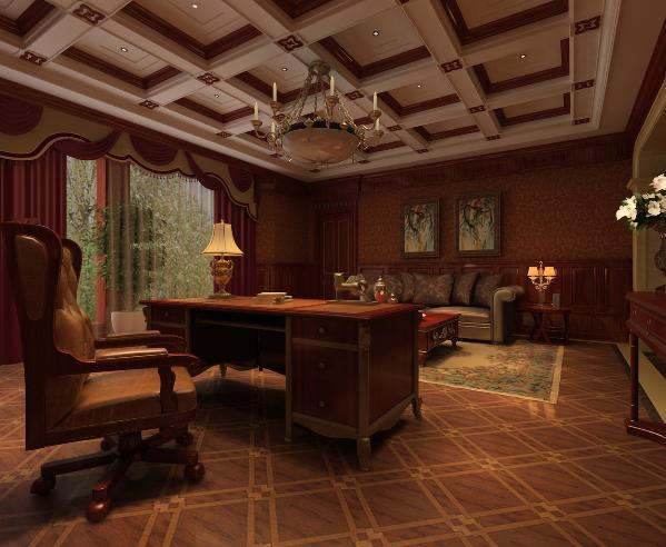 书房:整体实木质书柜与写字桌相呼应,让空间达到一种丰富的程度。通过吊顶的装饰让风格更加显现!