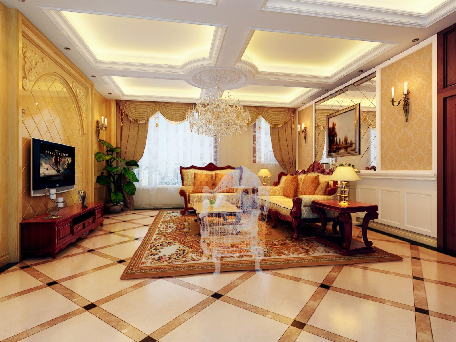 来体现更大气的效果,沙发背景以石材和护墙板为主,电视背景以护墙体为图片