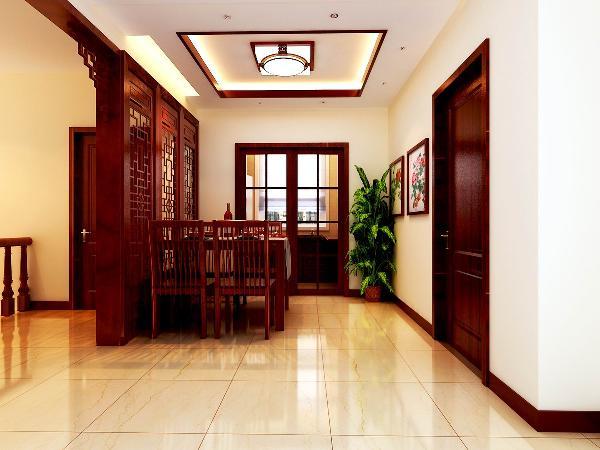 餐厅:此空间贴进入户较近,不是特别宽敞,又需要增加隔断来屏壁入户门与楼梯口的直接对冲,所以餐桌的背景以中式雕花隔断来分隔。