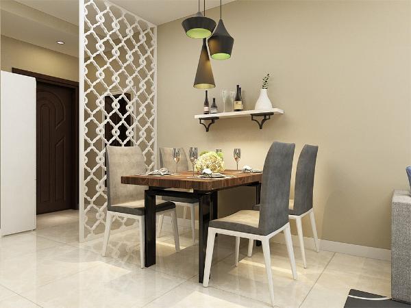 在餐厅 的设计中,采用了木色系的餐桌椅搭配白净的简约屏风。白色和明亮玻璃的结合创造出了 现代的洁净与明亮。