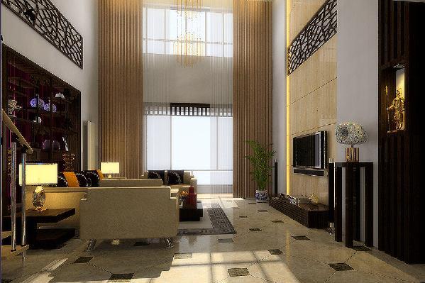 客厅背景墙整体运用理石石材,大气奢华,根据户型的空间挑高从地延伸到顶面