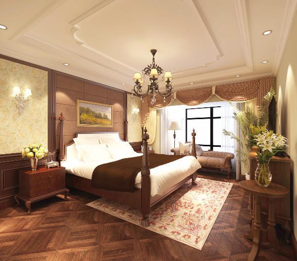 卧室: 墙面用壁纸装饰,地面浅色地砖,配上欧式新古典风格衣柜和床,整体软装搭配衔接无缝。