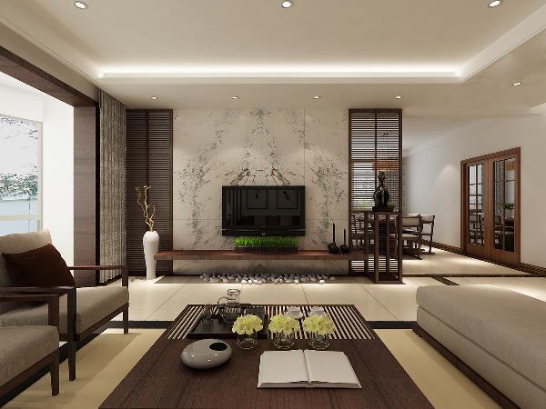 客餐厅:通过吊顶来划分空间,电视墙用石材点缀,凸显出此空间的的重点。