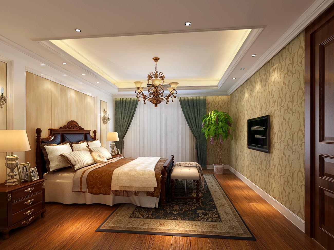 卧室: 墙面用壁纸装饰,地面浅色地砖,配上古典欧式风格衣柜和床,整体