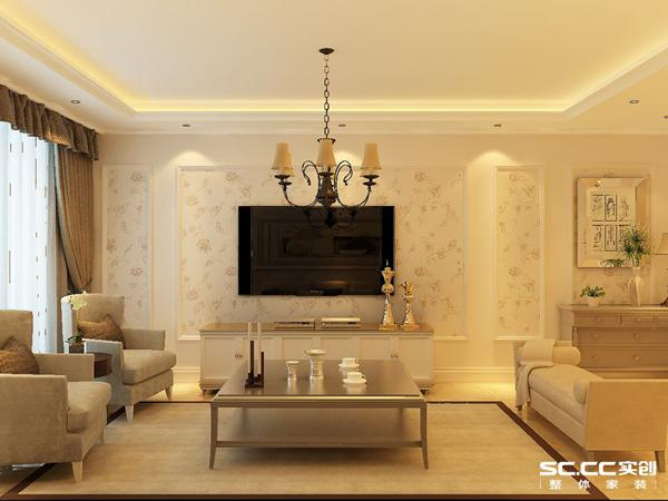 客厅作为待客区域,简洁明快,装修明快光鲜,朴素的沙发背景墙设计,和蔼的壁纸衬托使这套米黄色的家装风格看上去很素雅。