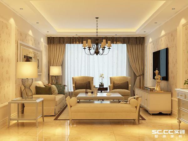 电视背景墙的简约设计精炼、简朴,雅致,石膏线的收边配以花色壁纸及暖色灯光显得更加轻盈优美。