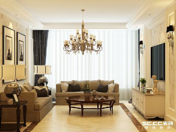 客厅地面的波打线对应着边棚,有效的增添了空间,木制的茶几的色彩起到了点缀的作用,与沙发组合相呼应。