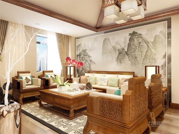 在空间的设计中首先客厅是着重表现的,在客厅的设计上我们采用了水墨画这一中式元素作与木元素相结合作为沙发电视墙。更多的在软装、家具搭配上我们采用了更多的中式元素烘托了中式的氛围。