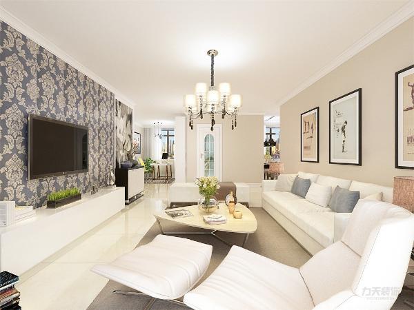 沙发采用的是白色系列。在沙发背景墙运用的是挂画形式,配搭灰地毯,窗帘结合家具的颜色为深灰色,墙面运用的是浅咖色的墙面
