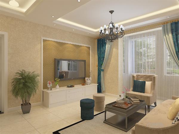 在平面布局上强调空间的自然融合。客厅空间讲究简单大方,简单的米色壁纸柔和、明亮使整个空间看起来更加温馨,沙发墙使用挂画简单点缀,电视背景强用石膏线勾边,内铺金色壁纸,简约的同时也不失单调。