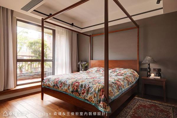 简化线条的架子床与中式风格块毯,以经典中式元素叙写绝尘拔俗的东方风情。