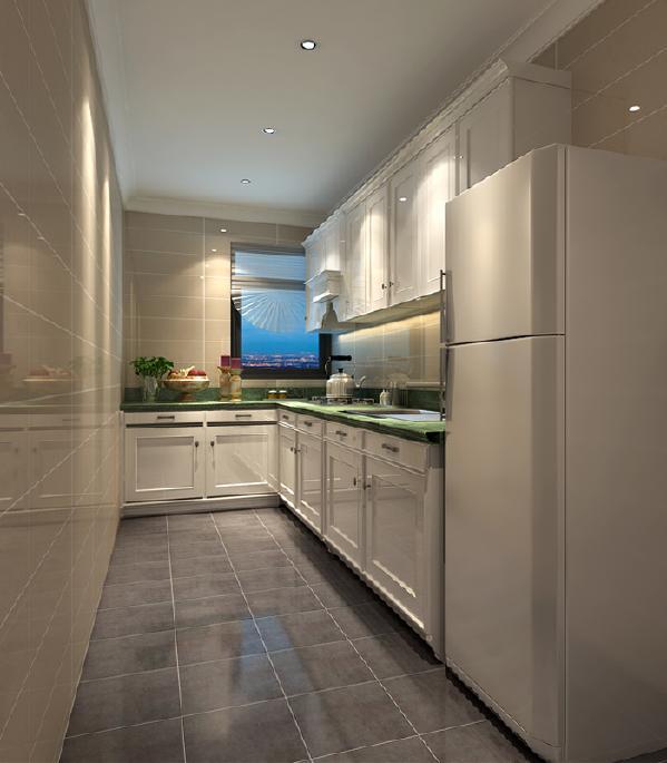 米色的墙砖,白色的橱柜,搭配那一抹绿色的台面,真是白色从中一抹绿。