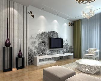 124平米三居室新中式时尚家装.
