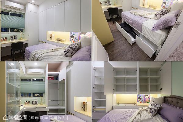 除了基本的床具、书桌机能,更于三面墙分别规划大容量柜体,床组下方亦备有收纳抽屉,让女孩的各式物品皆能妥善放置。