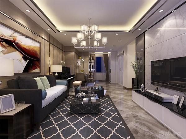 背景墙选择硬包的装饰,在电视背景强选择石材拉缝以及黑镜装饰,与沙发墙冷暖相对。