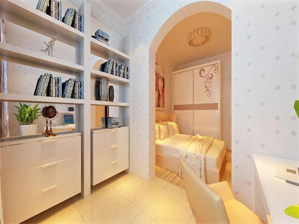 书房采用敞开的形式,与卧室完美的展现空间的宽敞明亮。