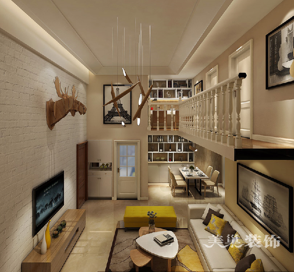 宜家美景120平现代简约复式室装修样板间——客餐厅效果图