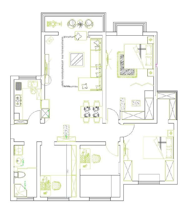 东岸尚景3号楼140平现代简约风格装修案例-户型图/平面布局方案