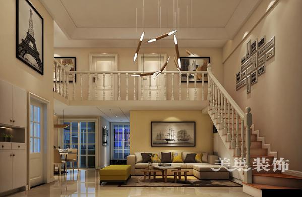 宜家美景120平装修样板间复式现代简约案例——客厅楼梯全景效果图
