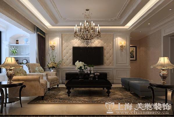 蓝堡湾2期1号楼三室两厅简约欧式风格装修样板房--客厅电视背景墙装修效果图