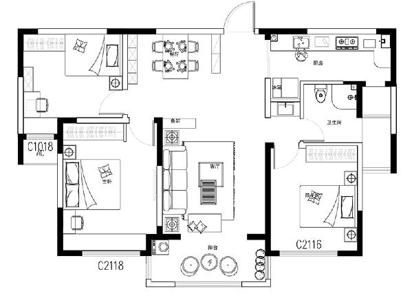 民安北郡28号楼120平三室两厅装修案例——户型平面布局方案