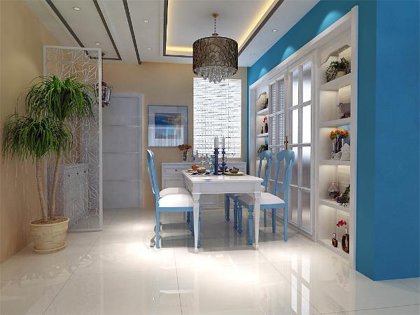 餐厅与客厅相融合,餐桌与餐椅的设计,也是为了配合整体色调所搭配。