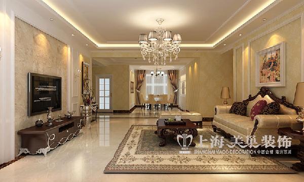 四室两厅188平简欧装修案例效果图——电视背景墙采用九厘板打底,欧式图片