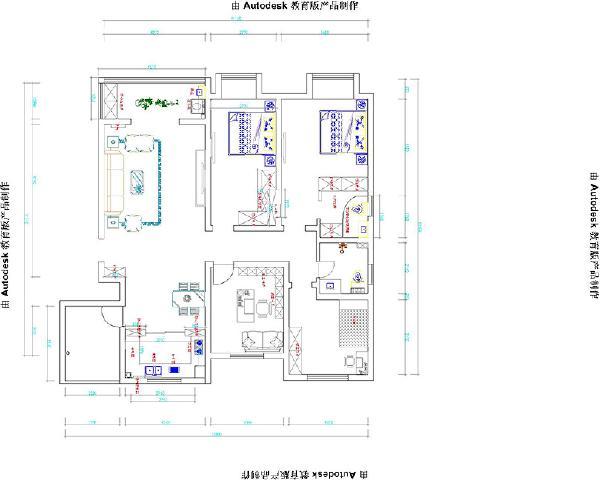 方圆经纬12号楼166平方四室两厅简欧装修案例户型图
