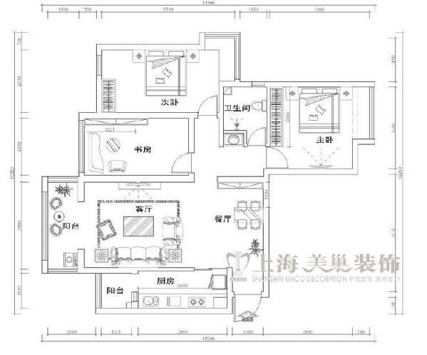 康桥金域上郡135平三室两厅现代简约风格装修效果图-平面布局方案