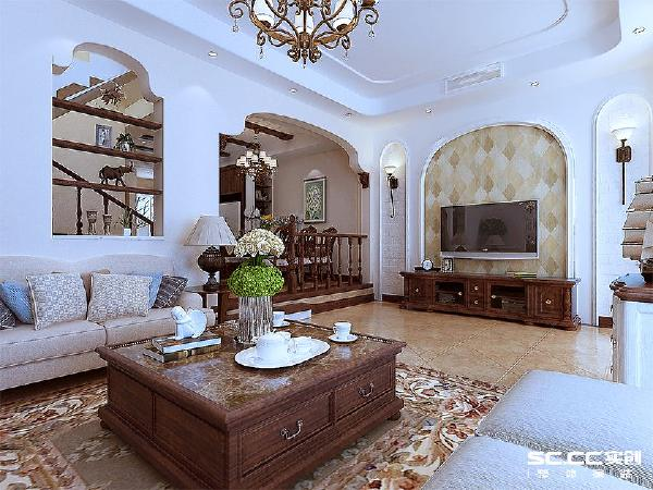 喜山装修喜山别墅青岛装修实创装饰客厅装修效果图片