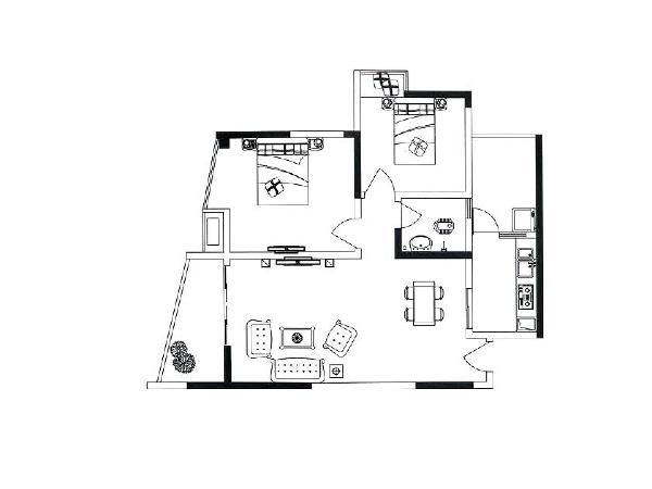 设计理念:平面布局图  主材说明地板:卢森 墙漆:福乐阁