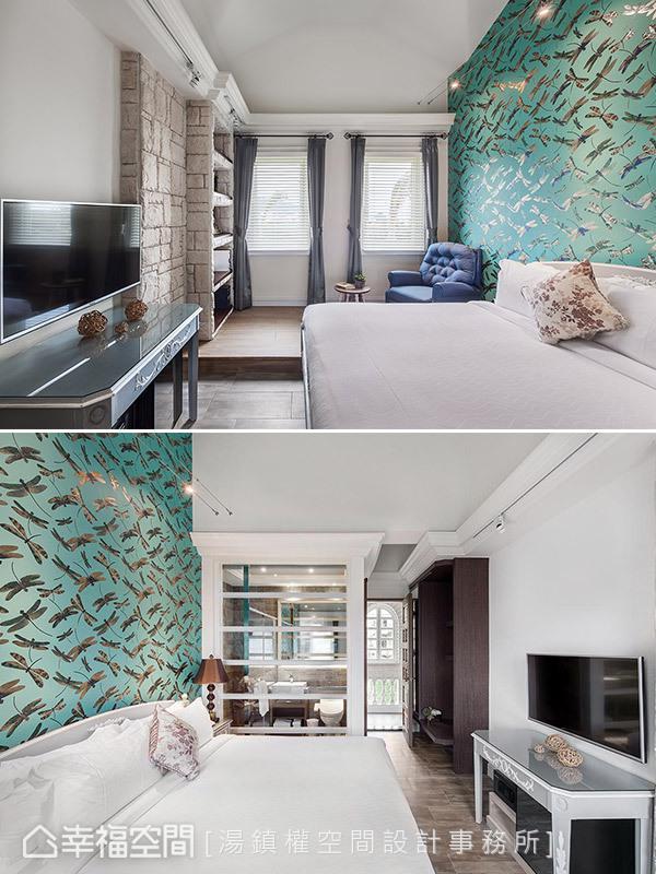 汤镇权设计师挑选蜻蜓图腾的壁纸,将当地蜻蜓飞舞的景观引入室内,尽现活力。