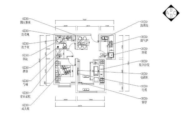 进入户门首先是餐厅区,顺着过厅走右面是卫生间,过厅正对的是一个储物空间,过厅的左面是卧室,紧邻卧室的是起居室,厨房的空间采光的窗较小,整个户型空间都很方正,布局相对合理。
