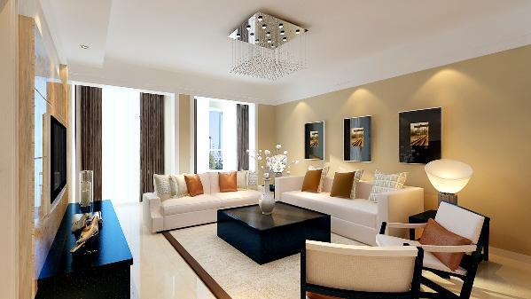 沙发背景墙则与电视背景墙形成对比,通过米咖色墙漆的过度和顶部造型的留白,让家具更好的融合。
