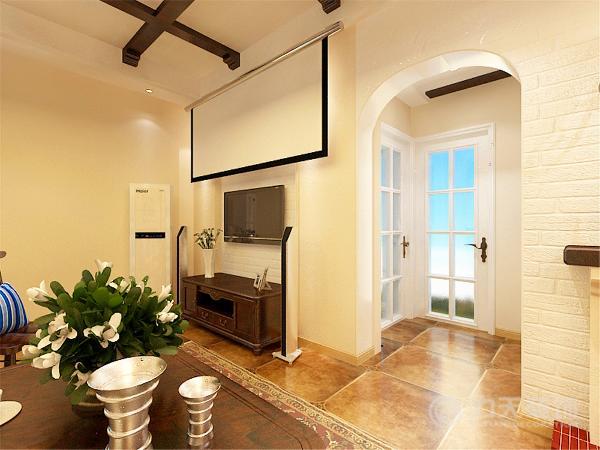 本案在总体上呈现,宽广细腻的状况。内部运用地中海工艺,浅色拱形沙发电视背景墙,深色带有木条纹的吊顶木梁,两种颜色形成强烈对比总体大方得体。