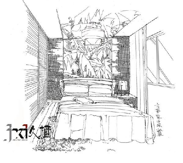 主卧室的手绘效果图。造型吊顶和背景墙连接。