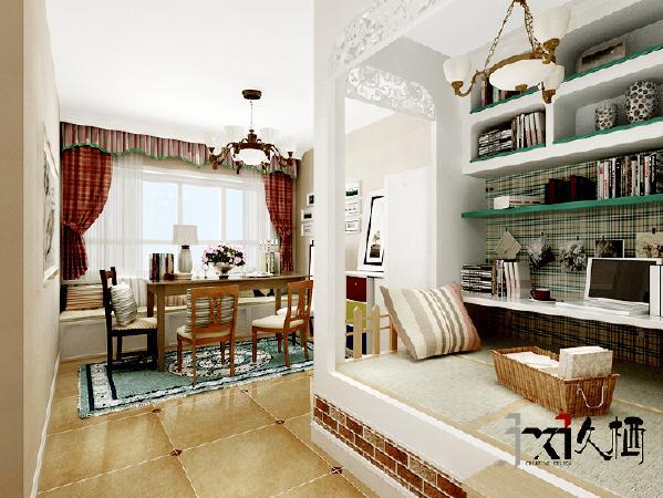 为突出温馨的家庭氛围,设计主要以暖色调配以干净的格子样式图案。将原有的客厅划分出餐厅和休闲区两大功能区。