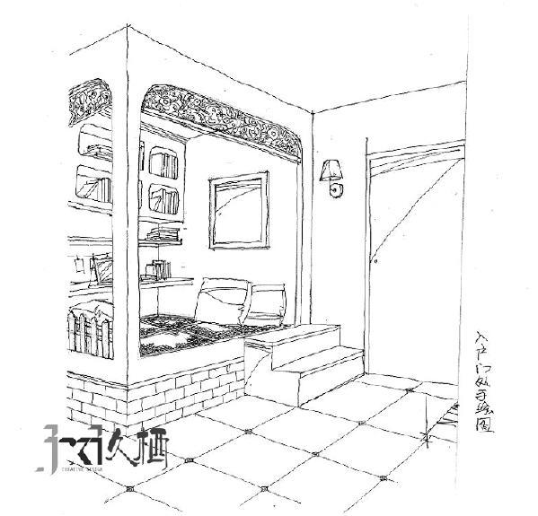 类似景中厅样式的休闲地台,除了可以储藏大量的书籍和杂物外,超强的围合感也是家人一同互通的小天地。