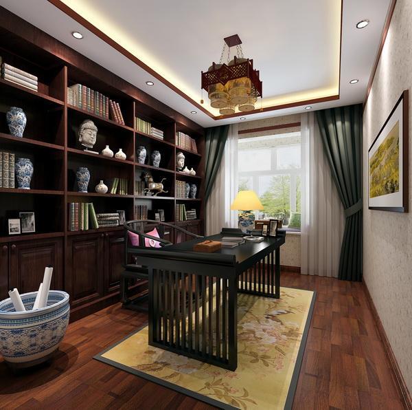 书房:墙面设计成整面的多宝阁用于藏书。