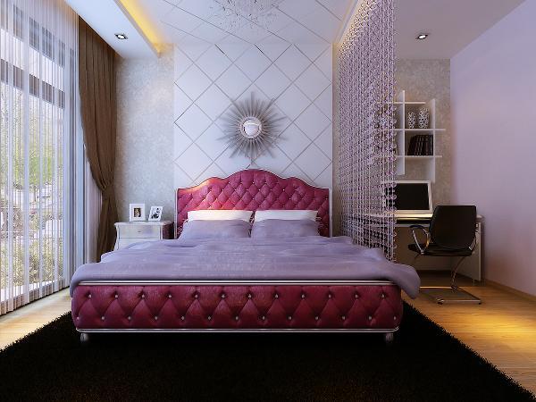卧室床头背景与顶面采用菱形造型使空间更整体,用珠帘将床和电脑桌划分为两个空间。