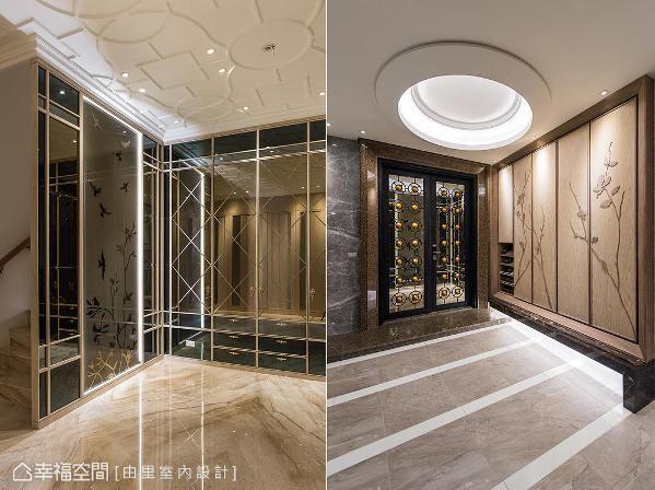 梯间利用不同造型的茶镜,带来隔屏遮蔽的效果;车库入口使用大理石和木皮,带来自然沉静的端景。