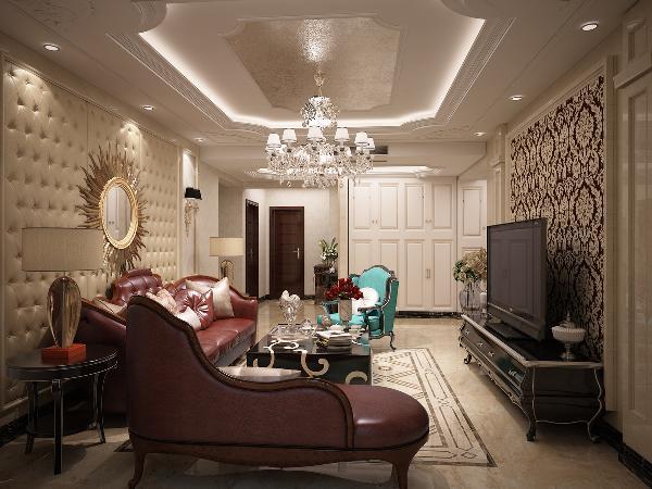 客厅设计借用了大量的古典建筑的元素,吊顶造型富有层次感,线条与层次继承了巴洛克风格中豪华、动感、多变的视觉效果。电视背景墙足够华丽复杂,与沙发背景墙相映成辉,保留了古典欧式的典雅与豪华。