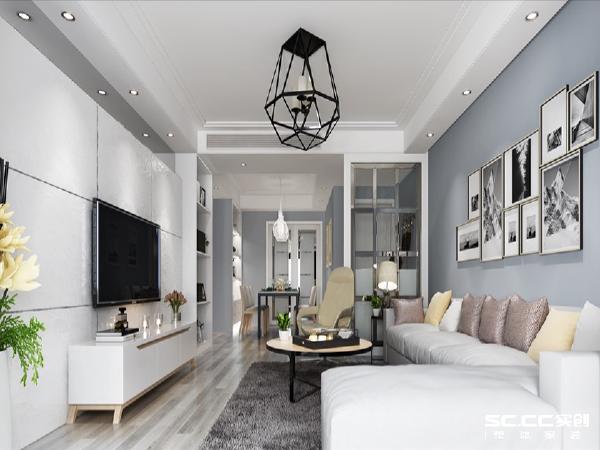 设计理念;简洁的黑白灰搭配,风格迥异的吊灯,简约不简单 主材说明:地板:卢森 墙漆:福乐阁