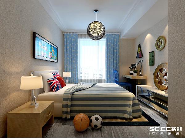 设计理念:海蓝色的衬托,使儿童房更清新活泼 主材说明:地板:卢森 墙漆:福乐阁