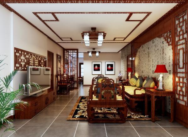 客厅:用配饰与色彩很好的诠释了中式风格所展现的舒适。 客厅作为待客区域,以神色为底,中式壁纸与中式风格特色实木门窗造型搭配,加上中式吊灯的呼应,体现浓厚的中式风情。