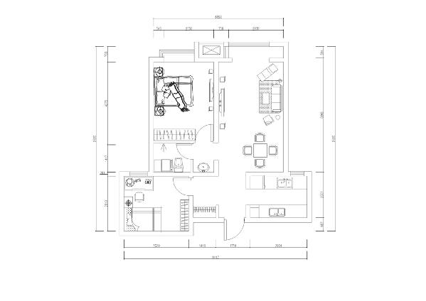 从片面效果图来看,以顺时针方向走,从入户门进去,左手边为储物空间,储物空间的左边即为次卧,次卧过来为卫生间(干湿分离),卫生间的左手边为主卧,主卧的左边为客厅与阳台,再过来为厨房。