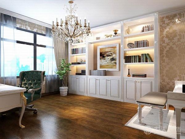 书房则在客厅那种明亮的欧式风格的基础上,采用了稍微深色的色调,让人感觉非常安静沉稳,有利于静下心来完成学习、工作。  简欧风格的核心是去繁就简,留下简单的线条和几何图案。
