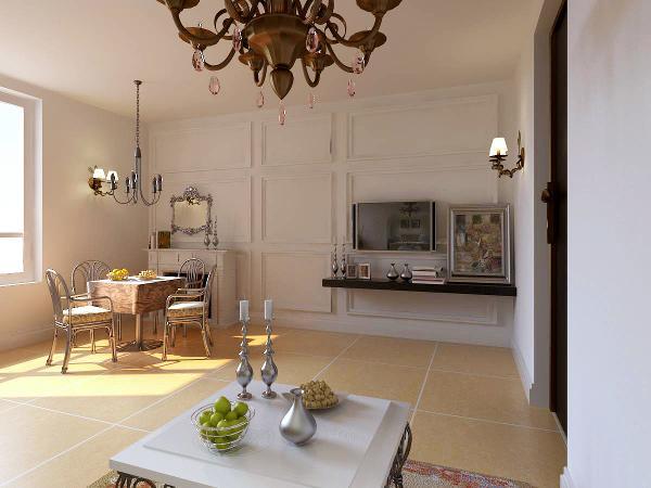 间比较小,所以其中的物品比较简单,但是由于地毯茶几吊灯等的搭配,把简单的风格中的华丽表现的很好。色彩为浅色,配上顶部照下来的灯光,整个电视背景墙把客厅提升起来。