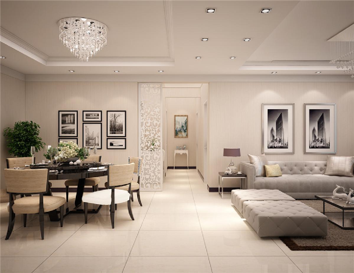 象牙色与桦茶色的配色营造出整体家居的暖意,用吊顶造型分割客厅与图片